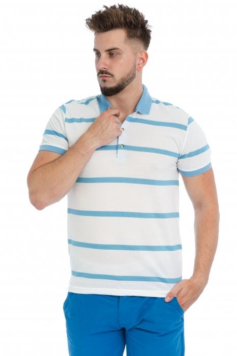 Tricou Polo Alb Dungi