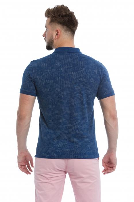 Tricou Polo Albastru cu imprimeu